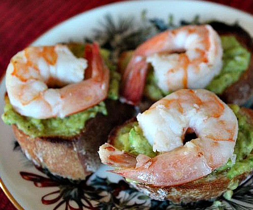 shrimp with avocado butter