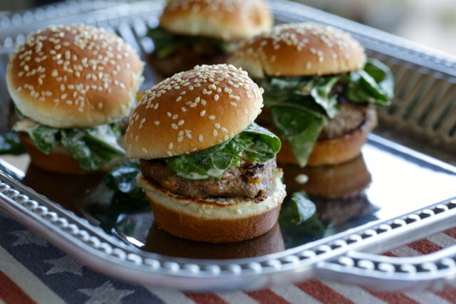Lamb Sliders with Spinach: Seasoned with Hatch Chiles