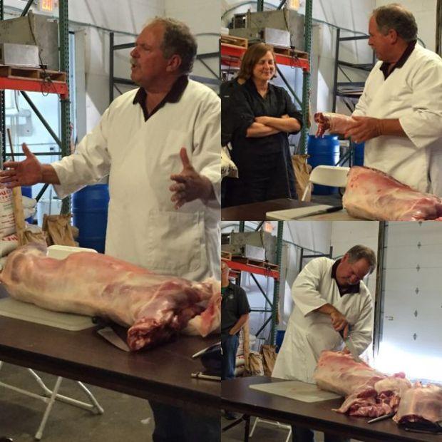 cutting up a lamb