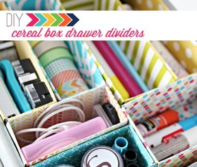 DIY Cereal Box Drawer Dividers por IHeart Organizing