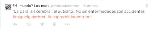 La parálisis celebral o el autismo no son enfermedades, son accidentes