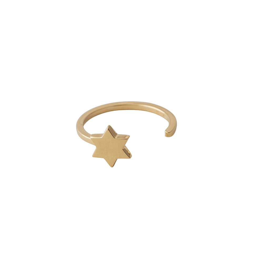 Ring Star In Gold Design Letters Mina Lola
