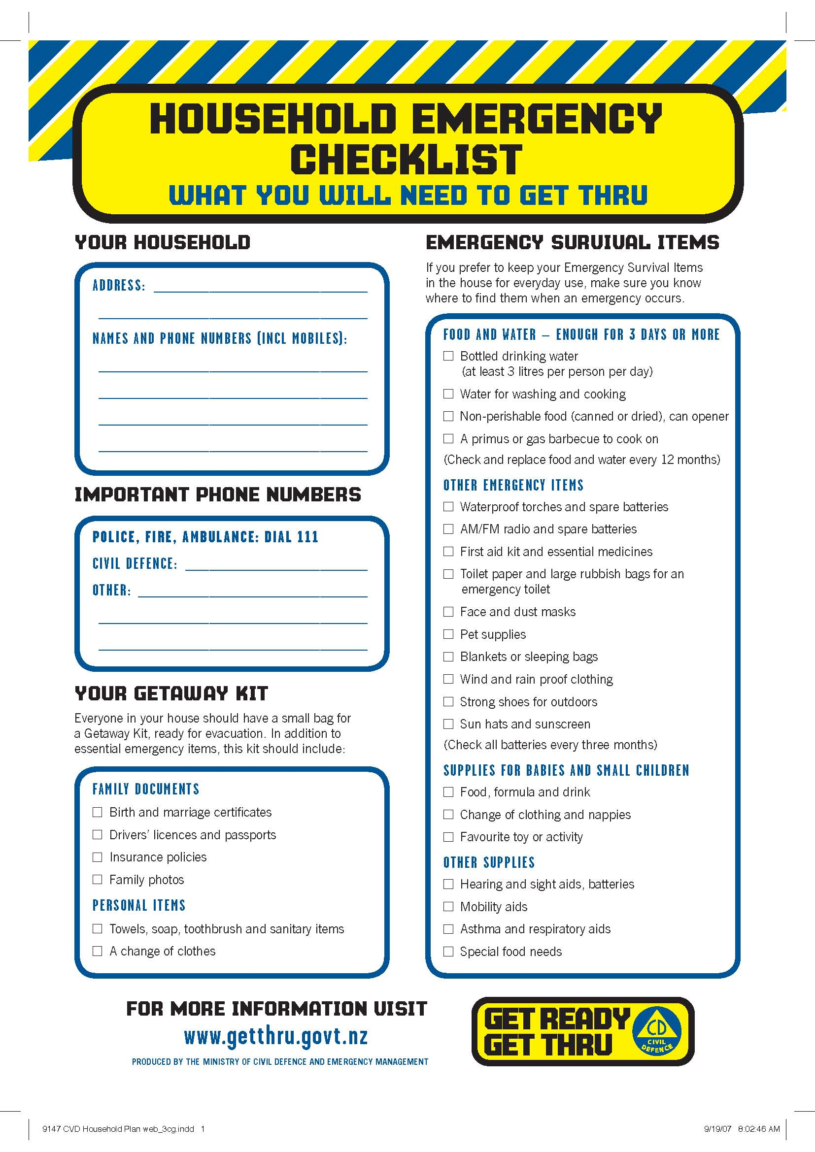 Household Emergency Plan Get Ready Get Thru Would You Be Prepared If A Disaster Happened – Part I