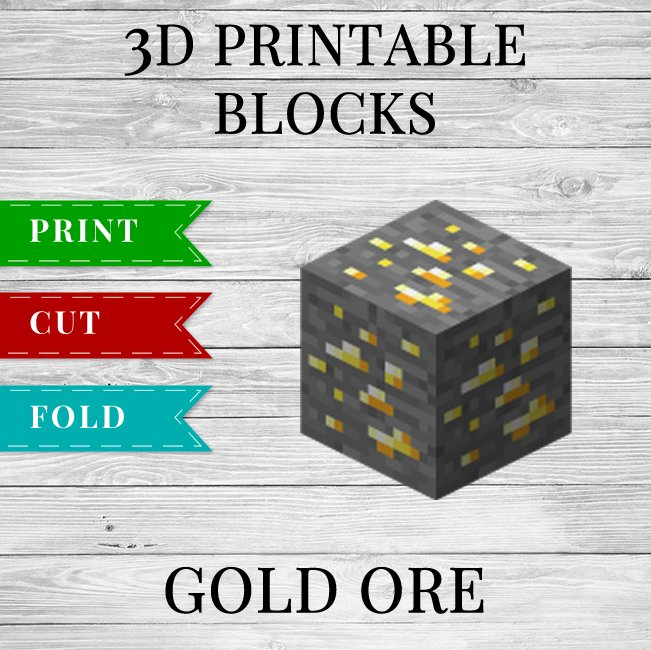 Gold Ore - Printable Minecraft Gold Ore Papercraft Template