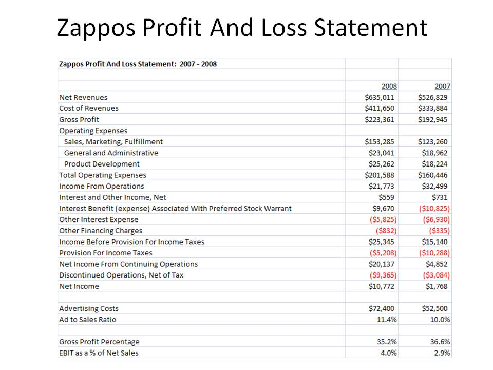 Kevin Hillstrom MineThatData Zappos Profit And Loss Statement - profit and lost statement