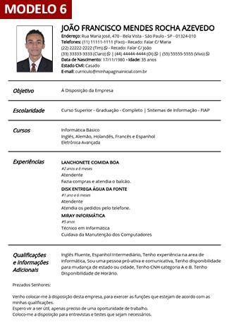 Gerador de Curriculum Vitae Online - Com Foto - 9 Modelos de Currículo