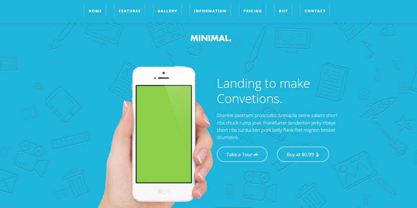 Minimal Landing Page Template - for Books, Software and Apps - app landing page template