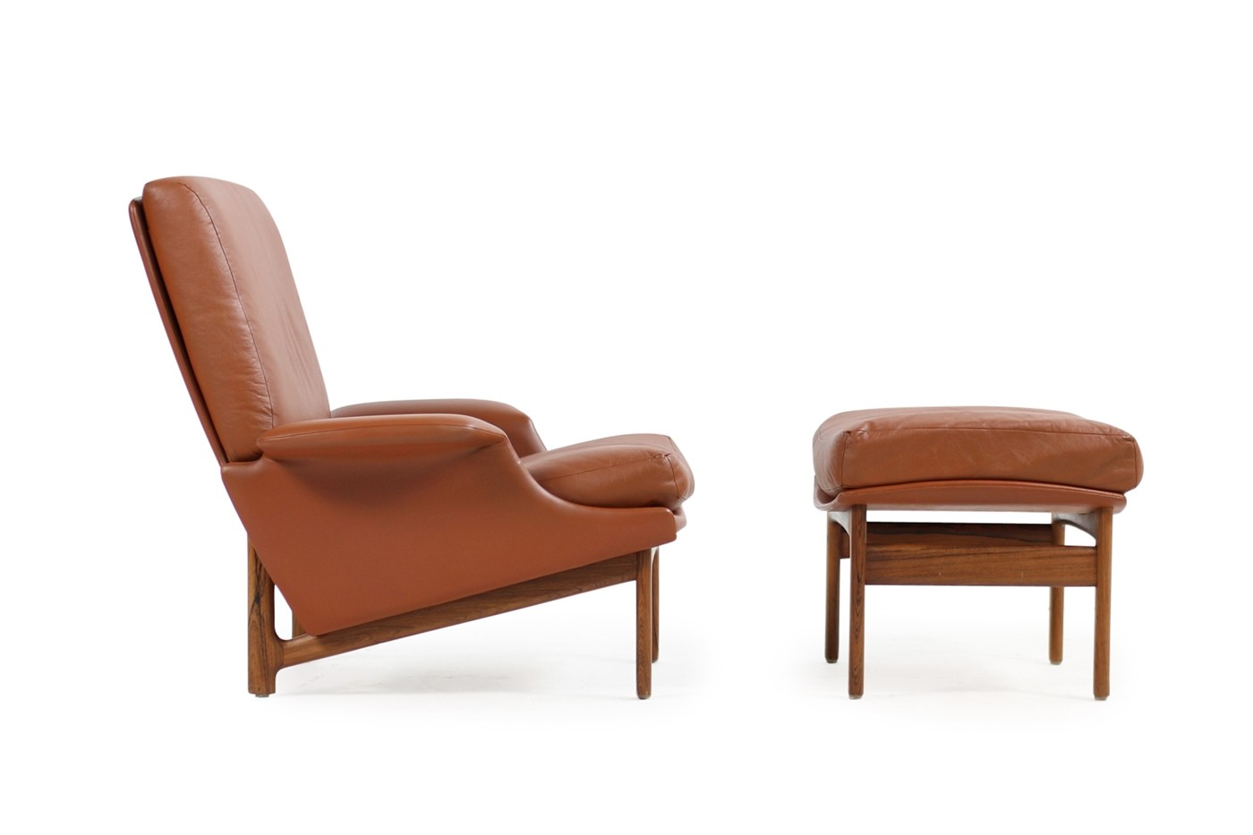 Lounge Sessel Leder Cognac Exclusive 1960s Ib Kofod Larsen Lounge Chair Adam Cognac Leather