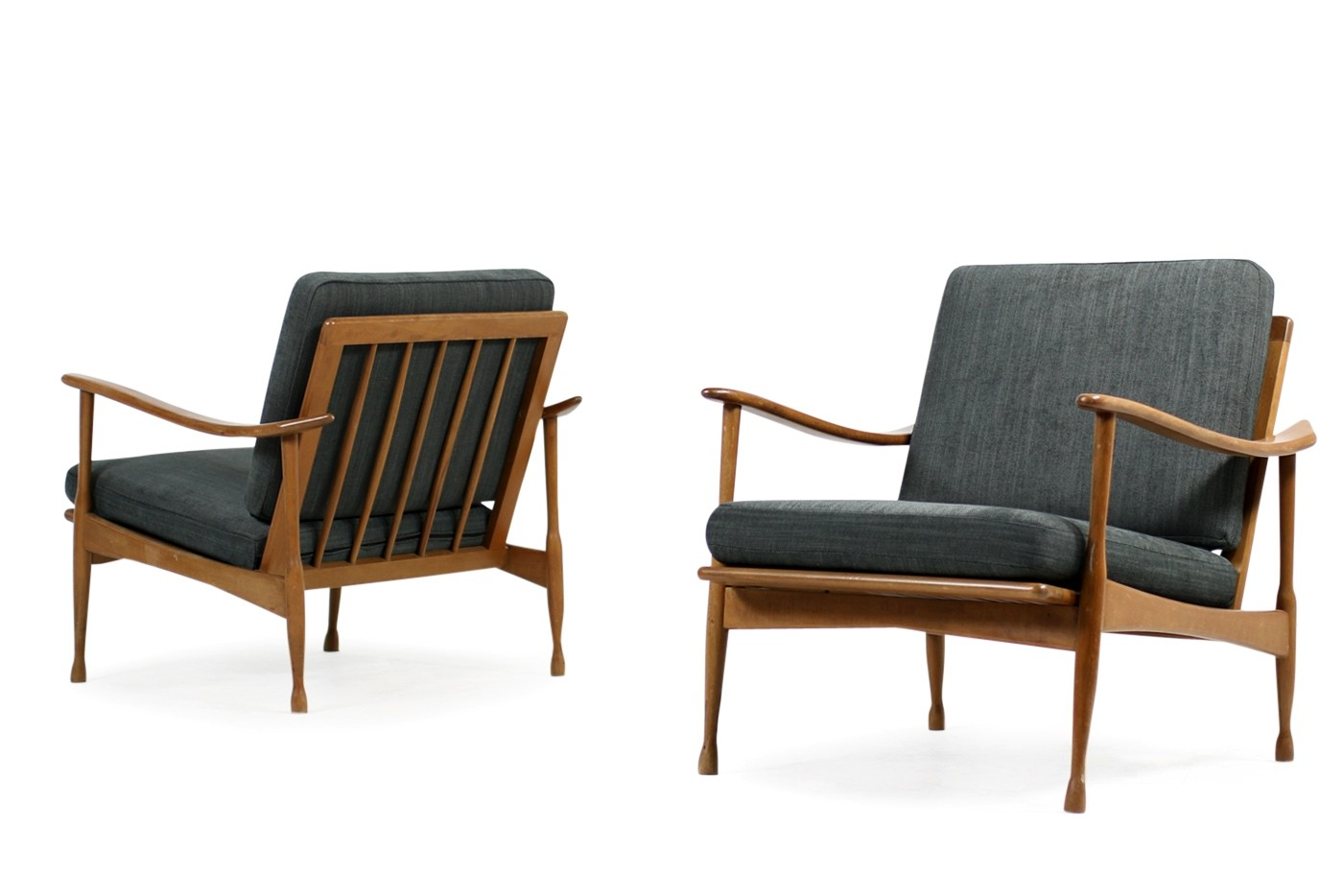 Pair Of 1950s Italian Mid Century Organic Easy Chairs Beechwood