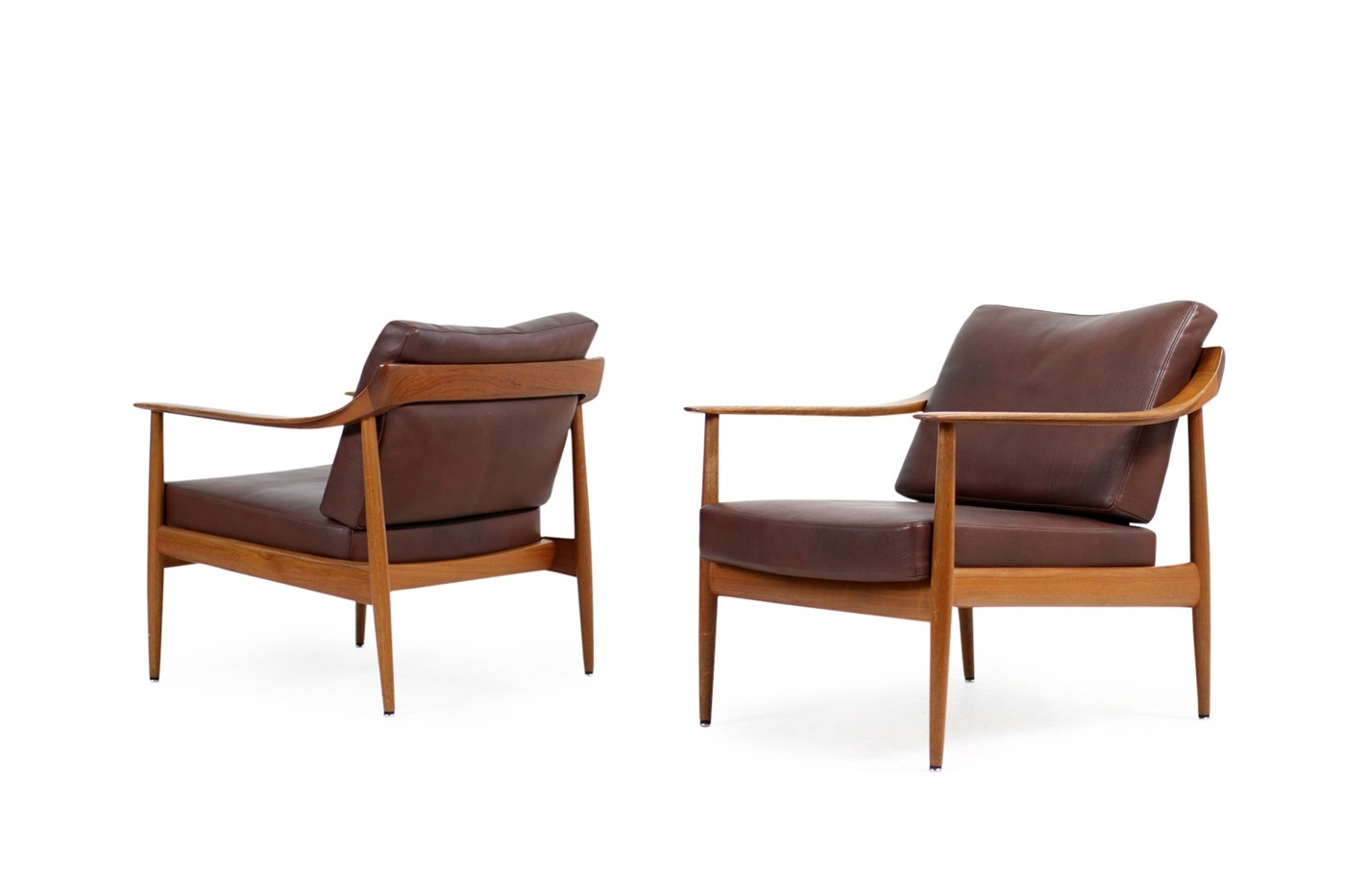 Sessel Knoll Pair Of 1960s Teak Leather Easy Chairs Knoll Antimott Mid Century