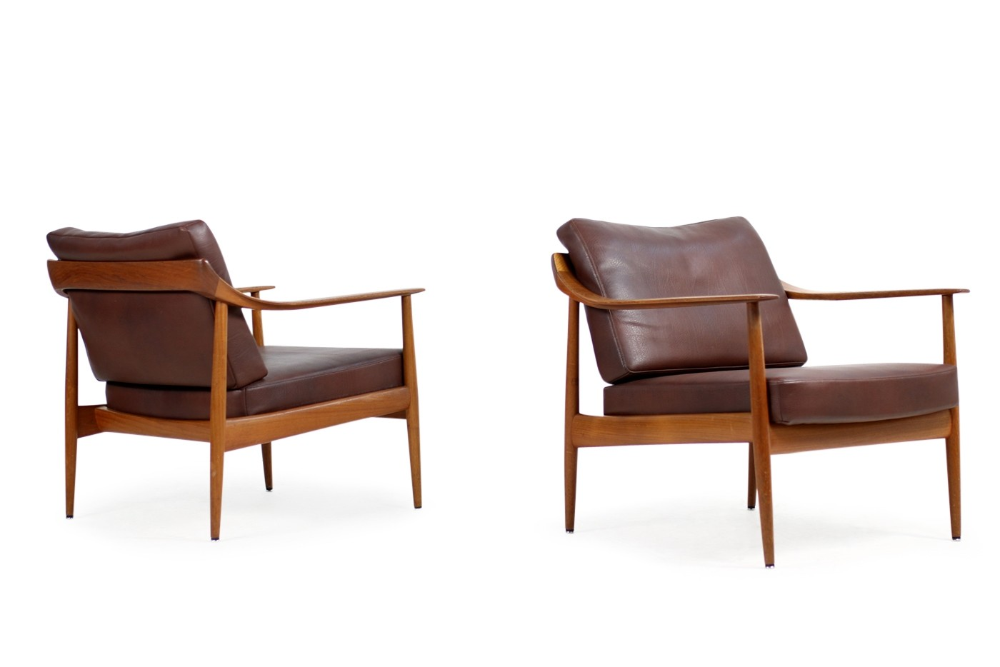Knoll Antimott Sessel Pair Of 1960s Teak And Leather Easy Chairs Knoll Antimott