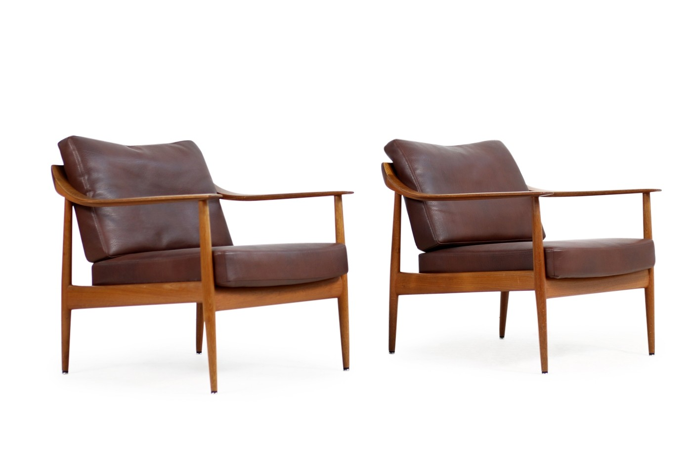 Knoll Sessel 50er Pair Of 1960s Teak Leather Easy Chairs Knoll Antimott Mid Century