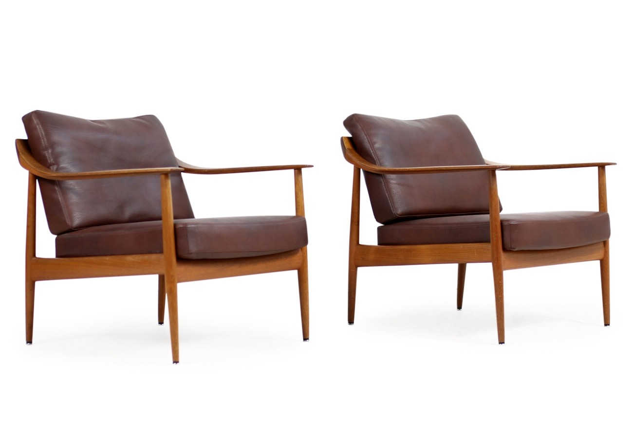 Teak Sessel 1960s Easy Chair Teak Leather Knoll Antimott Mid Century No 1
