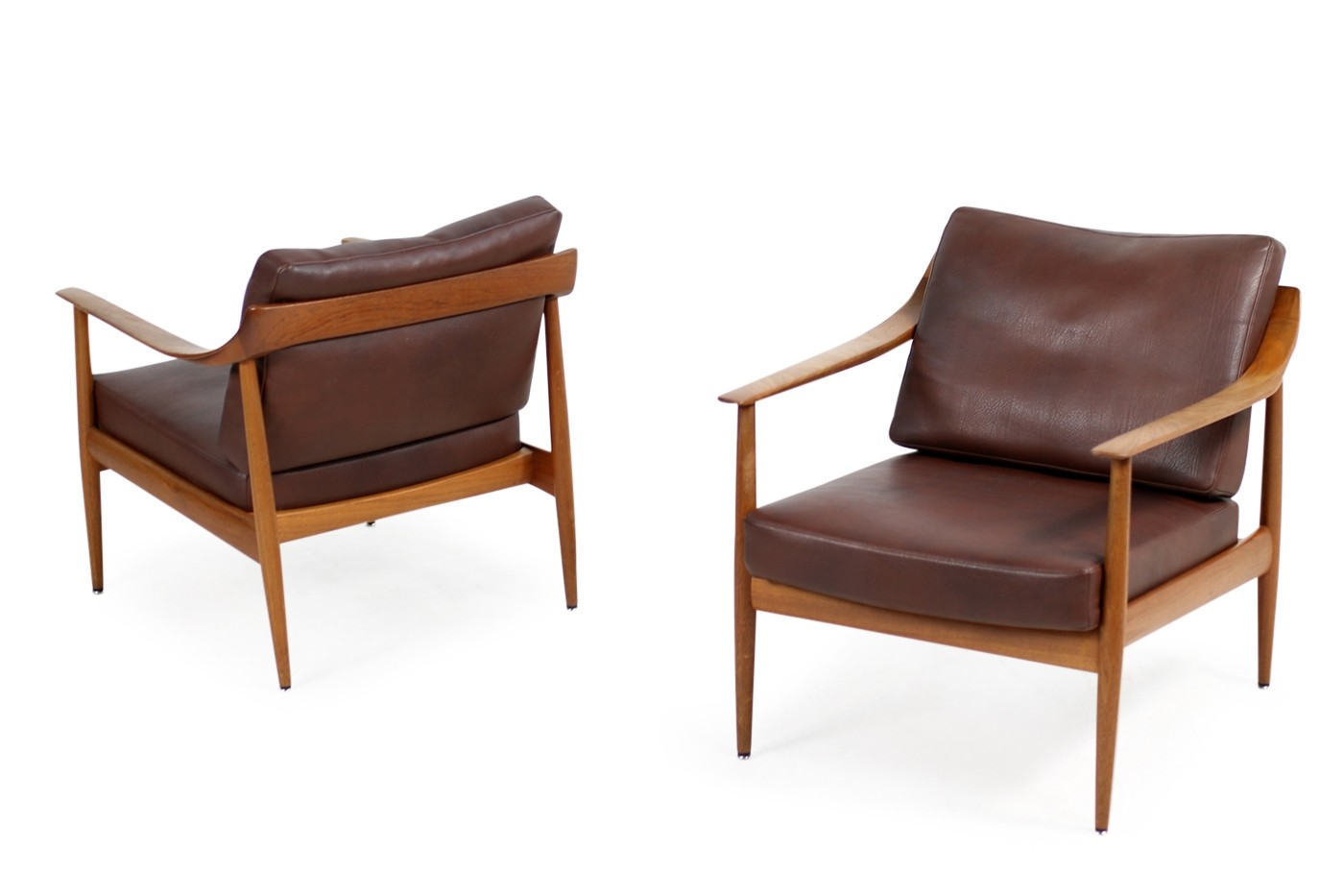 Media Sessel Pair Of 1960s Teak Leather Easy Chairs Knoll Antimott Mid Century