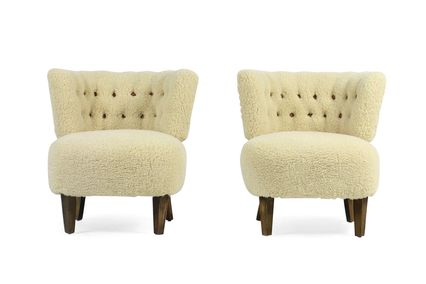 Otto Sessel Pair Of 1950s Otto Schultz Lounge Chairs Sheepskin Leather