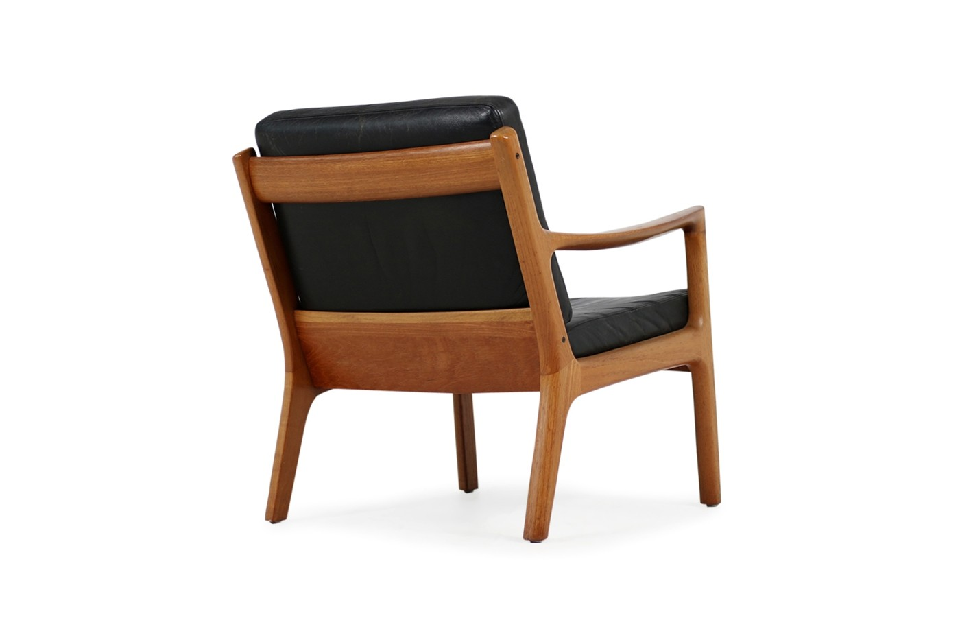 50er Sessel 1960s Danish Modern Ole Wanscher Easy Chair Teak Black Leather No 1