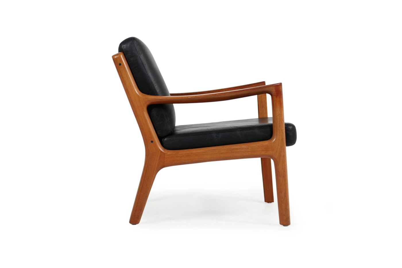 Danish Sessel 1960s Danish Modern Ole Wanscher Easy Chair Teak Black Leather No 1