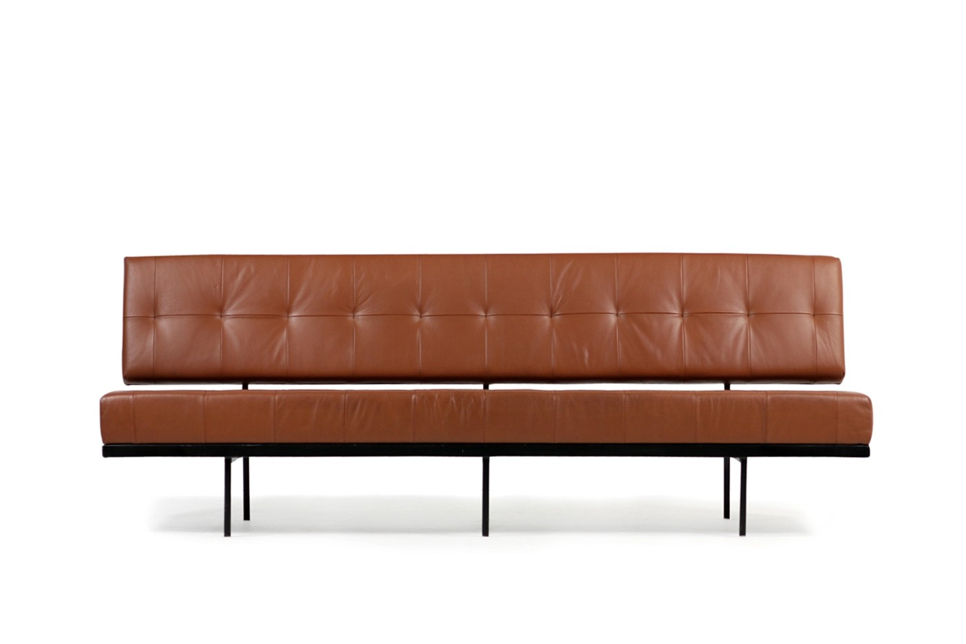 Sofa 60er 1960s Florence Knoll Custom Daybed Sofa Cognac Leather