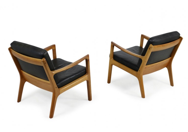 1960s Danish Modern Ole Wanscher Easy Chair Teak Black - Teak Sessel Modern