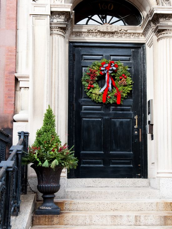 Fall Tree And Black Fence Wallpaper Christmas Wreaths Decorating Ideas With Ribbons And Bows