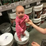 lastly, we practiced standing on things at the store... she's pretty great at standing already, she may just go straight to walking...