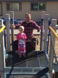 Bouncing around on the playground, I've tried swings, trampoline, open for suggestions :)