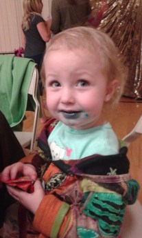 This one discoverd that she likes ring pops... blue ones if you couldn't tell