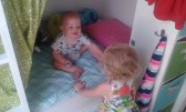 And almost instantly after learning to walk he climbed into his sisters bed, unassisted... t-r-o-u-b-l-e!