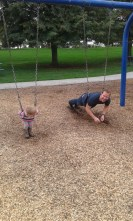 Now he swings on his belly when asked to by a two year old... oh how life changes