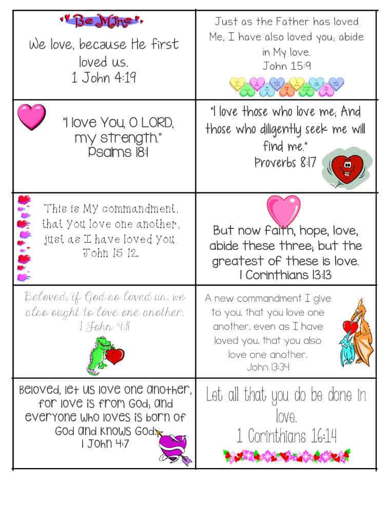 Printable Bible Verse Valentine Cards
