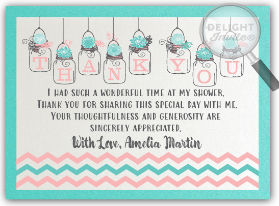 Aqua and Coral Jar Bridal Shower Thank You Cards DI-1514TY
