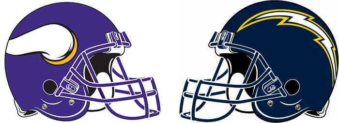 Minnesota Vikings vs. San Diego Chargers Helmets