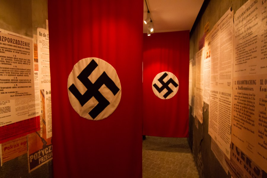 Nazi Flag hall at Schindlers Museum. Krakow Poland (X)