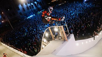Cameron Naasz of the United States jumps during the final stage of the ATSX Ice Cross Downhill World Championship at the Red Bull Crashed Ice in Saint Paul, Minnesota, United States on February 27, 2016.