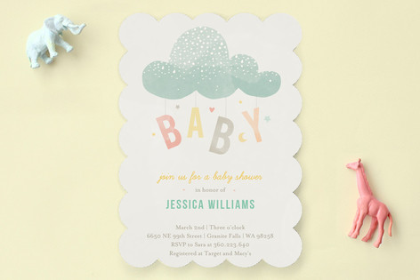 Cloud Charm Baby Shower Invitations by Heather Francisco at minted - baby shower template