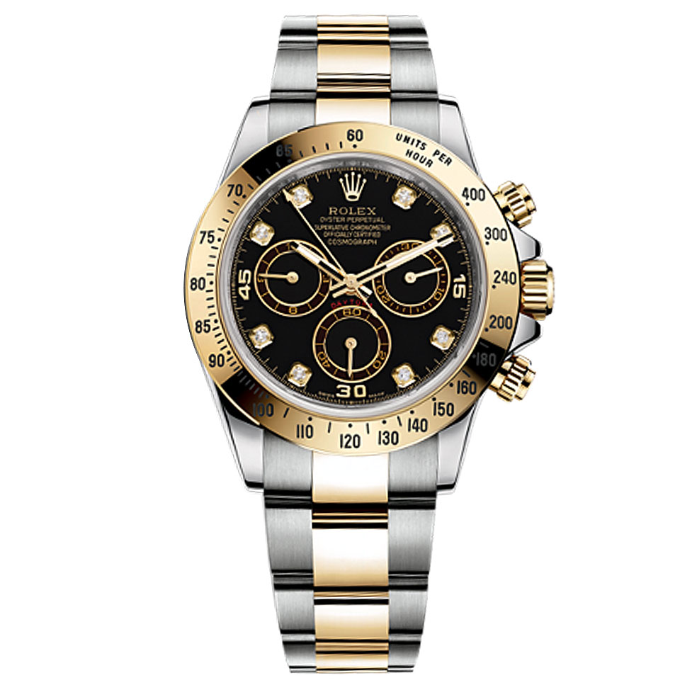 Stainless Rolex Rolex Daytona Black Diamond Dial 18 Carat Yellow Gold And Stainless Steel Men S Watch 116523bkd