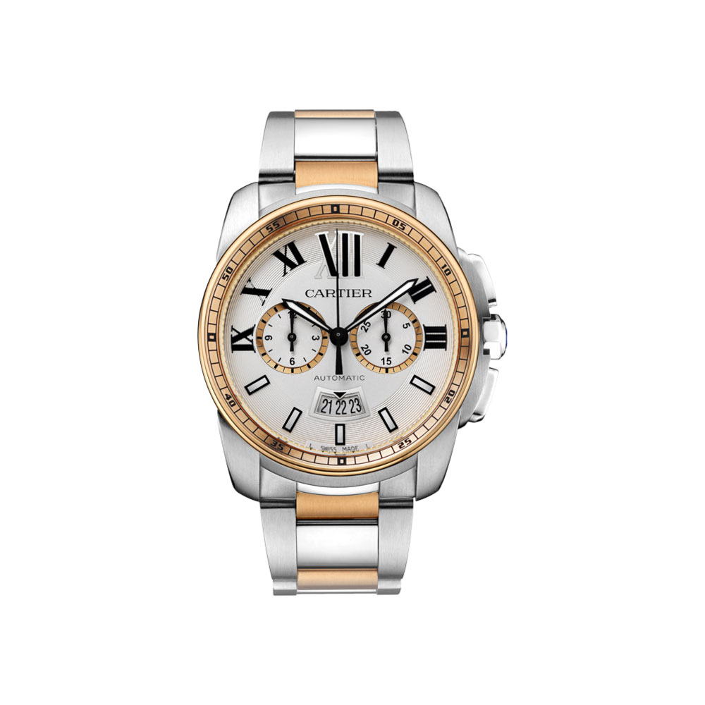 Cartier Watches Cartier Calibre De Cartier Silver Dial Steel And 18kt Pink Gold Automatic Mens Watch W7100042