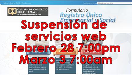 Suspensión de Servicios Web en www.ccputumayo.org.co