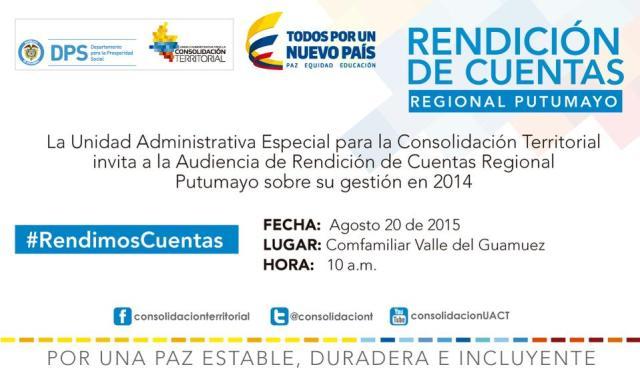 Unidad Administrativa para la Consolidación Territorial invita a rendición de cuentas Regional Putumayo 2014