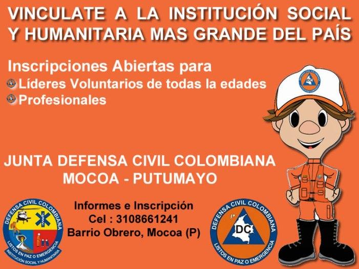 Vinculate a la Junta Defensa Civil Colombiana – Mocoa (Putumayo)