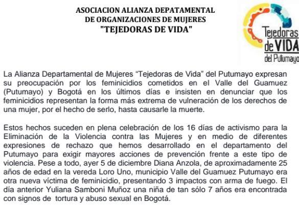 Alianza de Mujeres Tejedoras de Vida se pronuncia sobre feminicidios