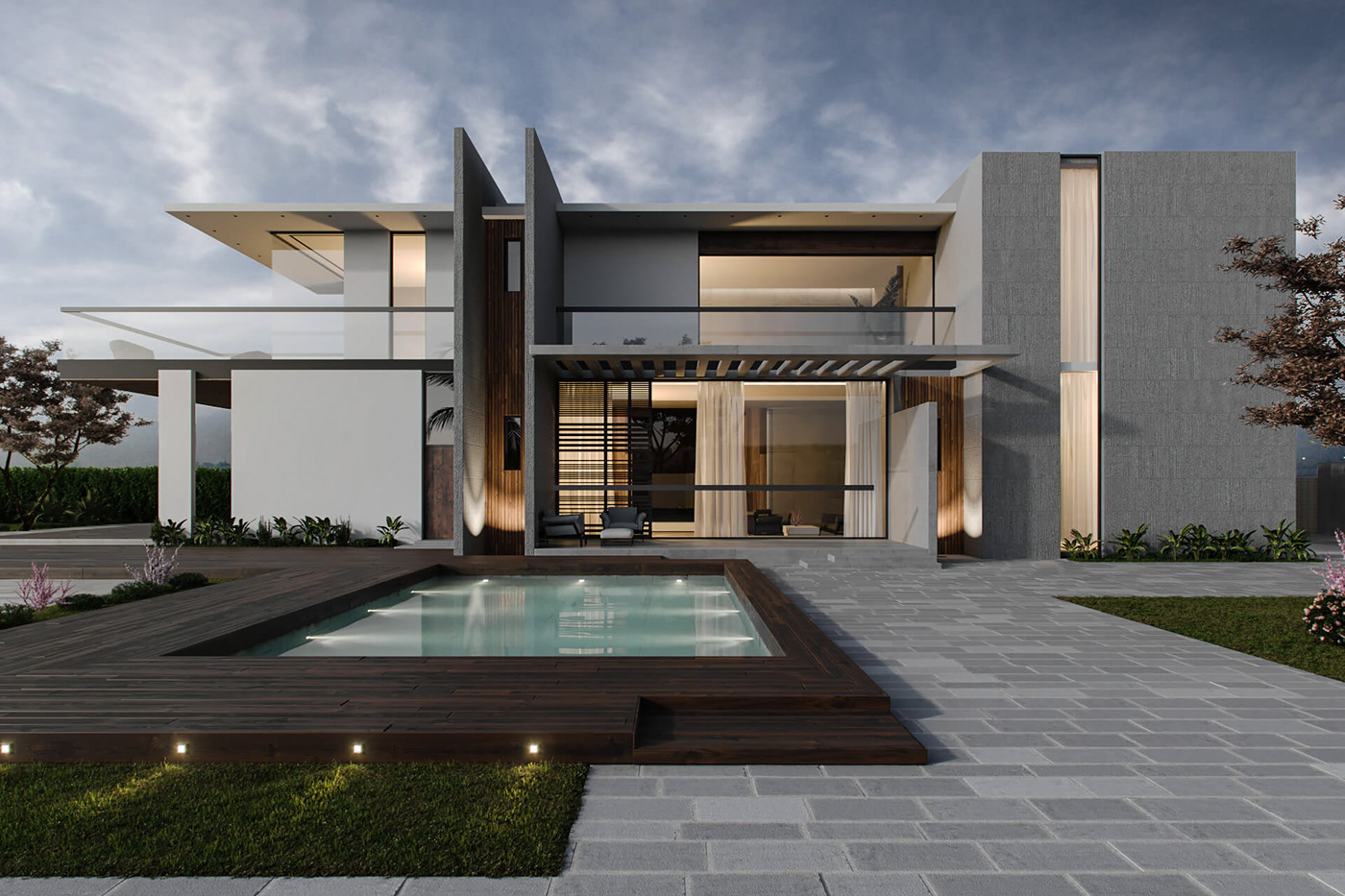 Modern Villa Modern Villa Exterior 3dvisualization On Behance