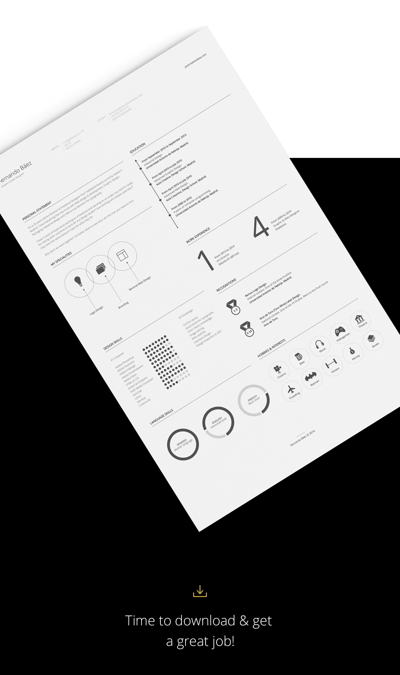 cv template free download behance