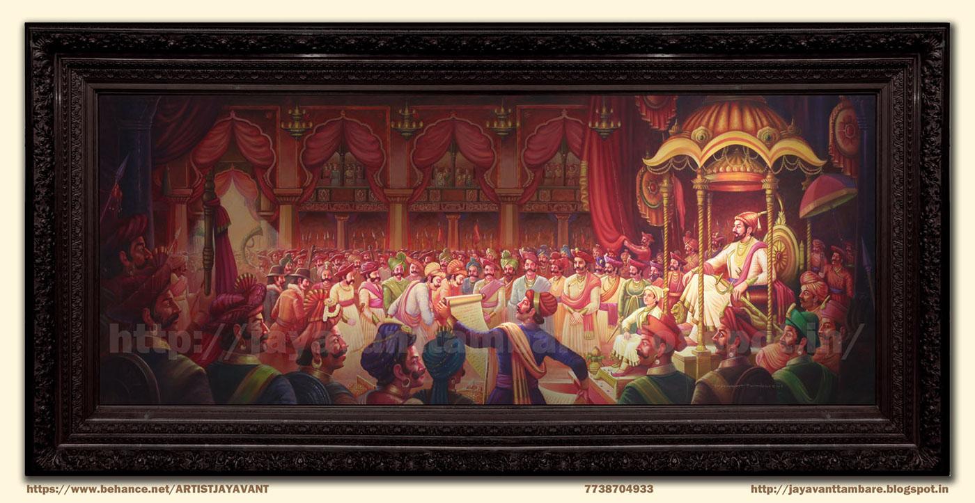 Shivaji 3d Wallpapers Chhatrapati Shivaji Maharaj Rajyabhishek Painting On Behance