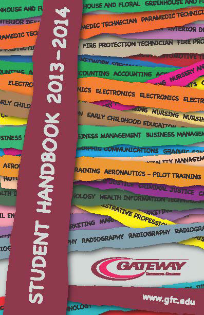 Gateway Technical Collage student handbook cover design on Behance