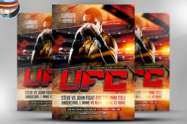 UFC Style Fight Night Flyer Template on Behance