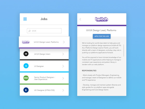 Job Mobile App UI Design for Inspiration on Behance