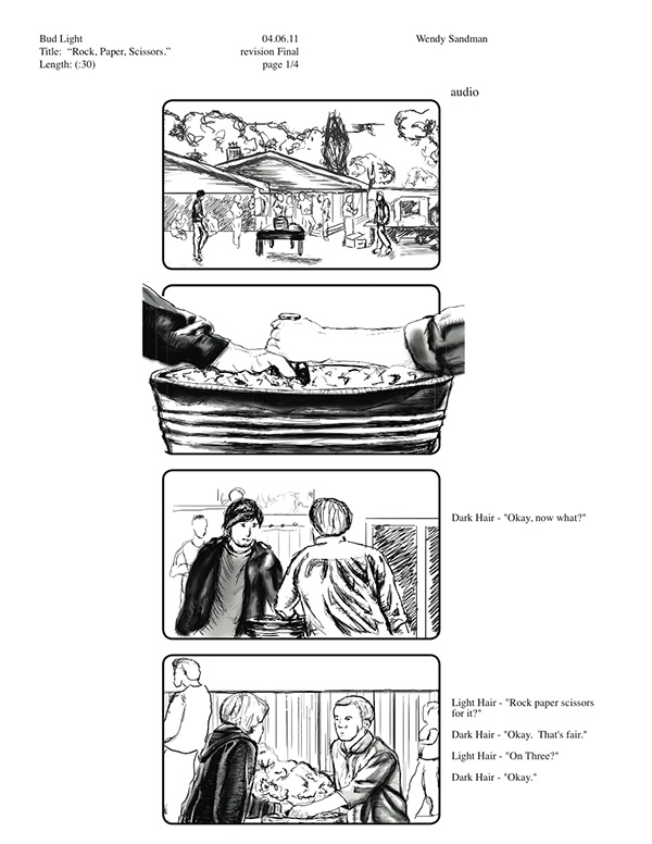 Bud Light Commercial Storyboard on Student Show