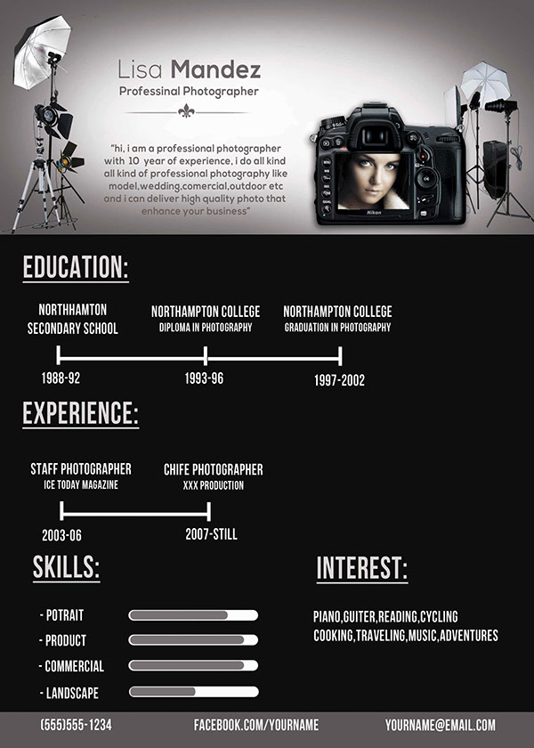 Photographer Resume on Behance