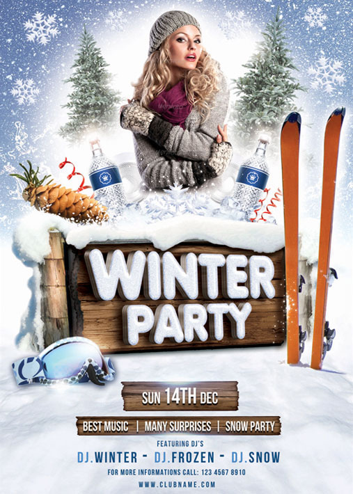 Winter Party Flyer Template on Behance